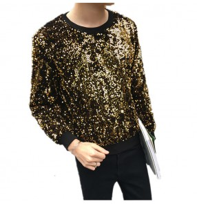 Green gold black sequined stage performance competition men's adult male jazz singers dancers night club dj ds dancing t shirts tops