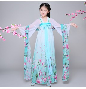 Green light pink blue floral girl's  kids ancient classical traditional han dynasty film drama  fairy princess performance cosplay dance dresses costumes