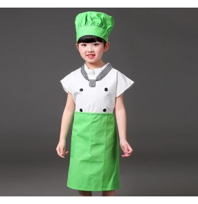 Green orange kids chef costume for children chef school performance chef cosplay suit for children food service uniform cosplay funny costume