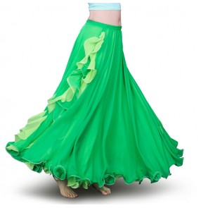 Green orange royal blue red hot pink purple two colored tone fashion women's girl's performance belly dance skirts costumes