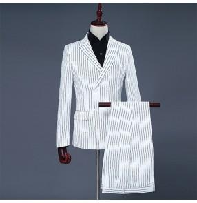 Groomsman blazers White striped long sleeves men's male performance jazz singers host host dancing blazers and pants
