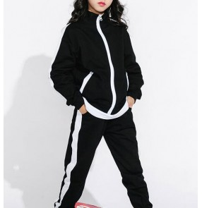 Hiphop dance costumes boy's girl's kids children stage performance show competition jazz singers dancers costumes outfits jacket and pants