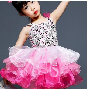 Jazz dance dresses for girls kids children school competition pink stage performance princess modern dance cosplay dancing outfits