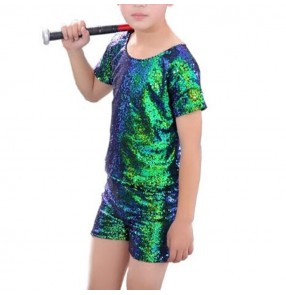 Kid jazz dance outifts for boy's silver red sequined paillette modern dance hiphop cheer leader dance costumes