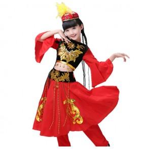 Kids chinese folk dance costumes ancient black and red kids girls ethnic minority Uighur dancers performance dresses