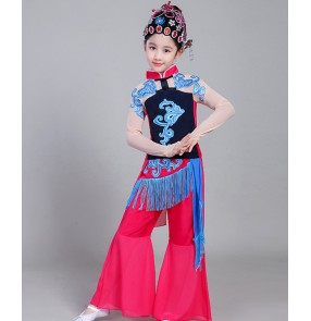 Kids Chinese folk dance costumes for girls traditional stage performance theater opera drama cosplay dancing dresses