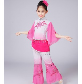 Kids Chinese folk dance costumes girls children green pink blue yangko fan ancient traditional cosplay dancing dresses