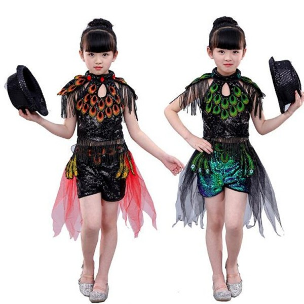 7f89e2b301cd Kids jazz dance costumes girl hiphop red green peacock modern ...
