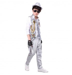 kids Jazz dance costumes sequined silver red gold drummer show hiphop street dance performance competition modern dance outfits