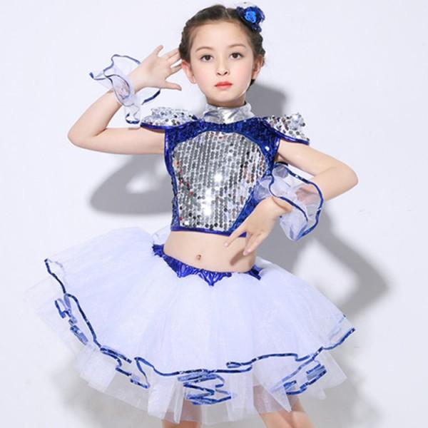 bf24da86a Kids jazz dance dresses for boys girls sequin street dance modern ...