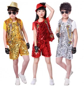 Kids jazz hiphop modern dance outfits singers boys girls red silver gold ds street show stage performance school competition costumes