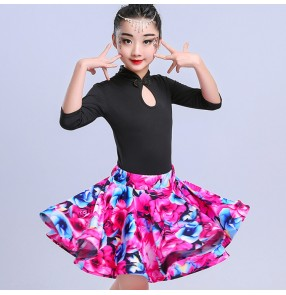 Kids Latin dress for girls children floral red competition stage performance ballroom latin dresses