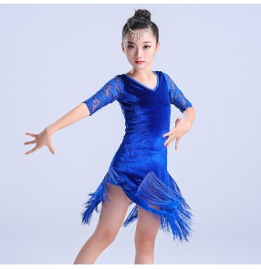 Kids latin dresses lace velvet pink royal blue black competition girl's performance ballroom salsa latin dance dresses
