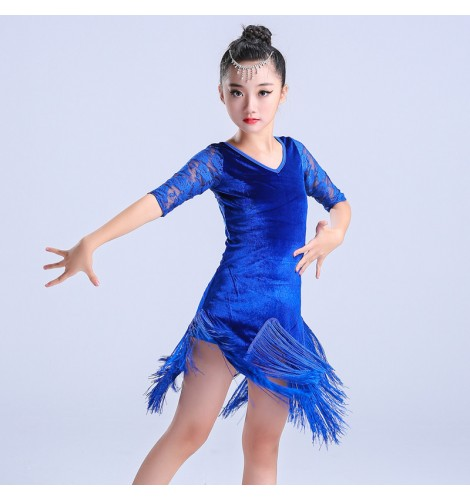 New Children Girls Black Latin Dress Ballroom Salsa Dance Performance Costume