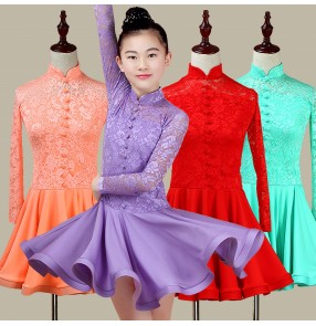 Lace Latin dresses for girls kids children mint purple red long sleeves competition performance ballroom salsa samba dresses