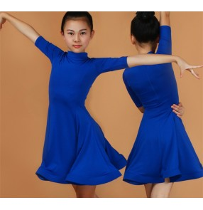 Latin dance dresses for girls kids children blue mint red black pink stage performance competition salsa rumba dance outfits dresses