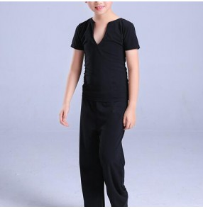Latin dance tops pants outfits for boys kids children black competition performance exercises ballroom latin tops and pants