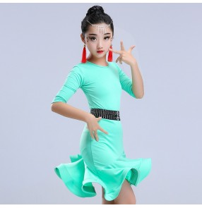 Latin dresses for girls stage performance competition children kids mint red black salsa samba chacha dresses