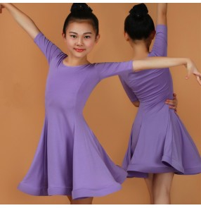 Latin dresses for Kids Competition girls stage performance red pink mint purple blue ballroom salsa latin dancing dresses