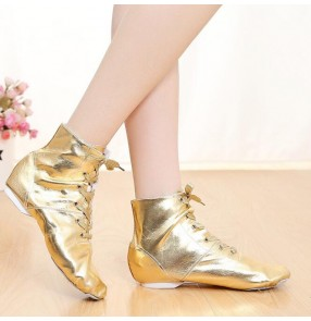 Leather Jazz Dance Shoes For Women girls ankle length boots Ballet Jazzy Dancing Shoe gold silver Teachers's modern Dance Exercise Shoes