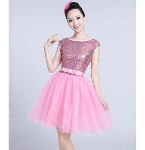 Light pink cheer leaders performance dresses women's female sequined modern dance singers dancers ds dresses costumes