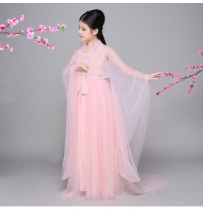 Light pink girl's kids children film drama cosplay photos shot performance chinese folk ancient classical han dynasty fairy dance dresses clothes