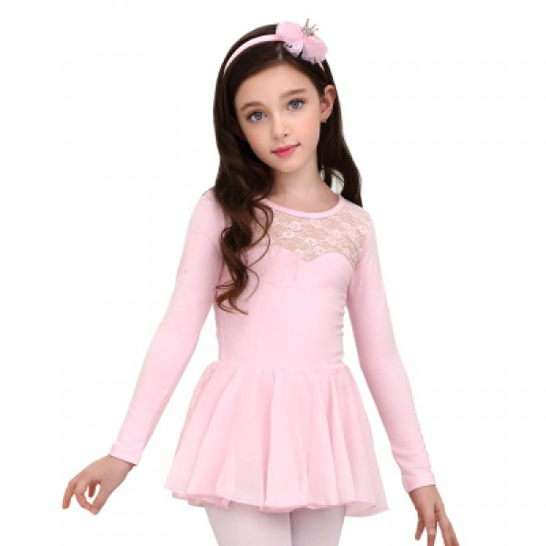 6689f2f23477 Light pink girls ballet dance dress kids children lace modern dance  competition gymnastics performance ballet tutu skirt dance ballet dresses