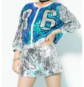 Light pink red turquoise blue sequined girl's women's cheerleader singers dancers hiphop jazz performance baseball jackets shorts outfits