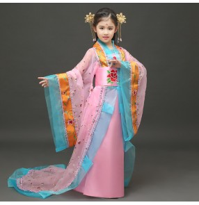 Light pink red turquoise girl's children princess tang dynasty Chinese folk anime fairy dance cosplay stage performance dance dresses costumes