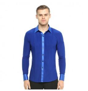 Men's ballroom latin dance shirts striped long sleeves  competition royal blue black white waltz tango shirts