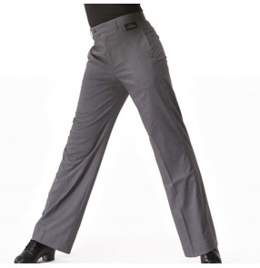 Men's ballroom long pants competition stage performance professional grey jive chacha dance trousers