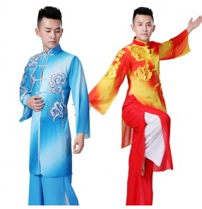 Men's chinese folk dance costumes china style tai chi martial kungfu dragon lion competition performance uniforms