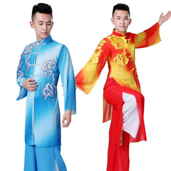 73c7106a8 Men's chinese folk dance costumes china style tai chi martial kungfu dragon  lion competition performance uniforms