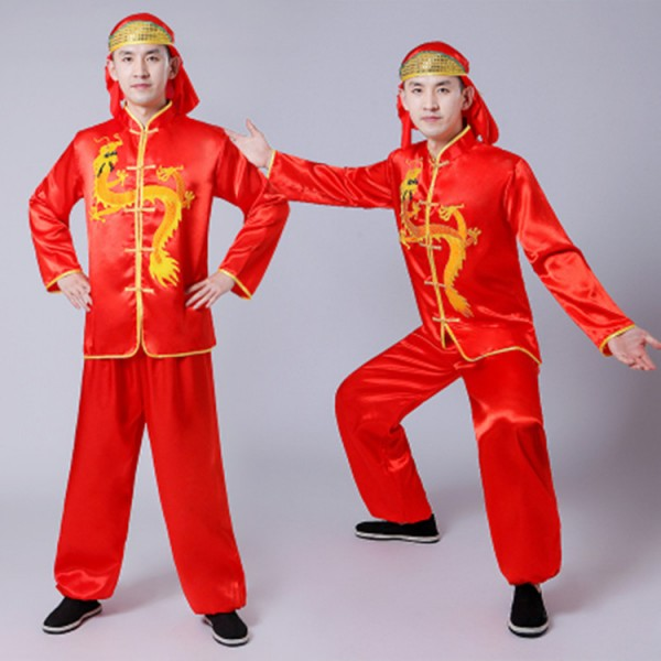 8cedf4e30 Men's chinese folk dance costumes dragon boat lion competition performance  male drummer dancing tops and pants