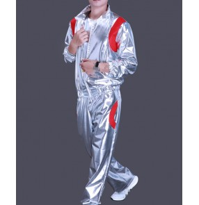 Men's hiphop street dance costumes silver male modern dance competition stage performance exercises group dancers outfits