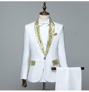 Men's jazz dance outfits for men white performance singers host chorus dancing coat pants Manteau et pantalon de performance pour hommes