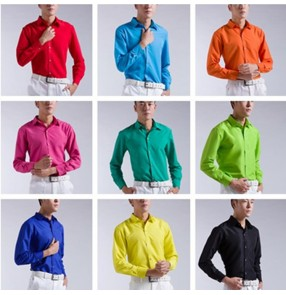 Men's jazz dance shirt candy color party show singers chorus best man grooms magician dress shirts