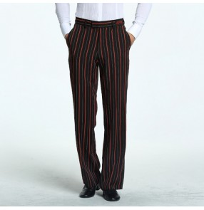 Men's latin dance pants male competition ballroom stage performance striped chacha rumba dance trousers long pants
