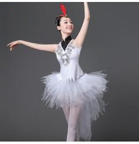 Modern dance ballet dress for women's female white swan lake tuxdo tutu ballet performance dancing dress