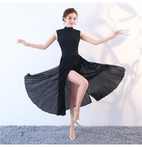 Modern dance ballet dresses black women's female competition stage performance long tutu dresses