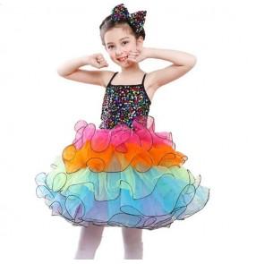 Modern dance dresses for Girls kids children rainbow sequined princess jazz singers cosplay dancing dresses