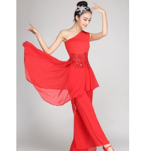 Modern dance dresses red white women's ballet singers stage performance team dancers dancing outfits
