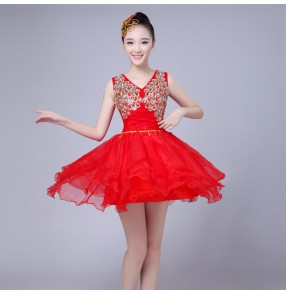 Modern dance dresses singers dancers women's female red team dancers singers stage performance cosplay dresses costumes
