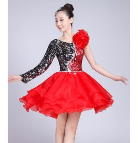 modern dance dresses women's female Black with red sequined one sleeves singers jazz dj ds performance dance costumes outfits