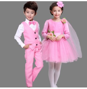 Modern dance girl's kids children stage performance girl's boys school uniforms chorus singers flower girls boys dancing dresses costumes