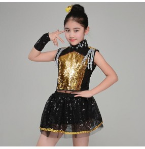 Modern dance hiphop outfits for girls boys gold blue paillette stage performance jazz cheerleaders cosplay costumes