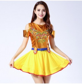 Modern dance jazz cheer leader dancing dresses women's female competition stage performance jazz singers dancers hiphop dancing dresses