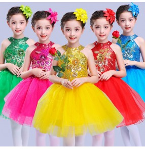 Modern dance jazz dresses for girls kids children stage performance green gold blue pink princess ballroom team singers chorus cosplay dresses