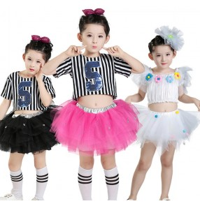 Modern dance jazz singers girl's kids children striped hiphop street dance cheer leading performance school competition dance dresses outfits