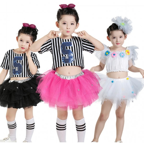 d36099cd5129 Modern dance jazz singers girl's kids children striped hiphop street dance  cheer leading performance school competition dance dresses outfits